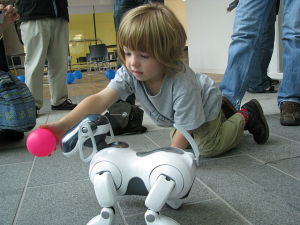 AIBO_ERS-7_following_pink_ball_held_by_child