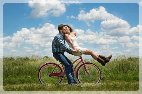 Bike Together Happiness Couple Romance Engagement